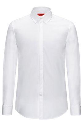Camicia slim fit in cotone dotata di polsini con risvolto: 'C-Ilias', Bianco