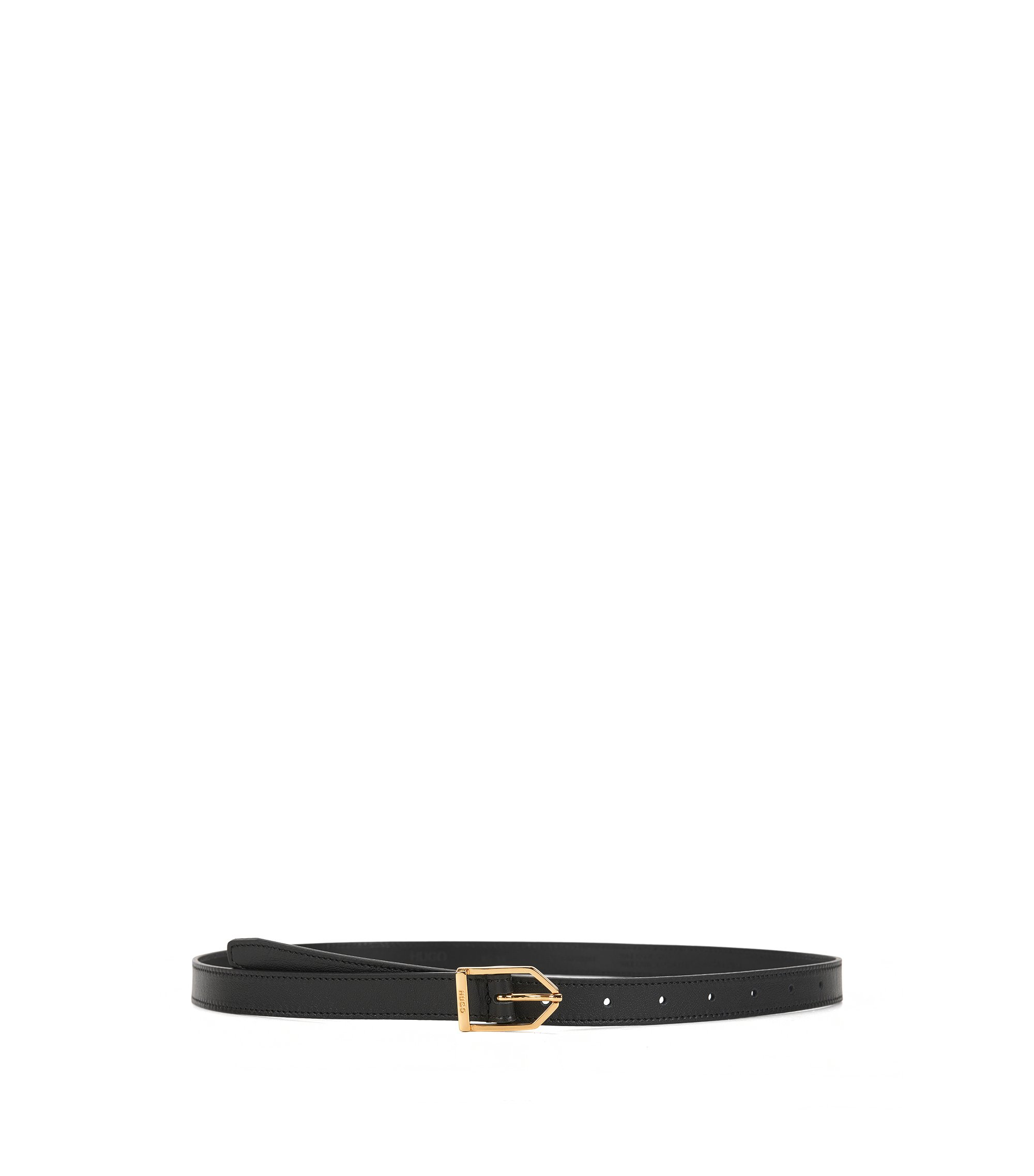 Slim leather belt with modern buckle, Black