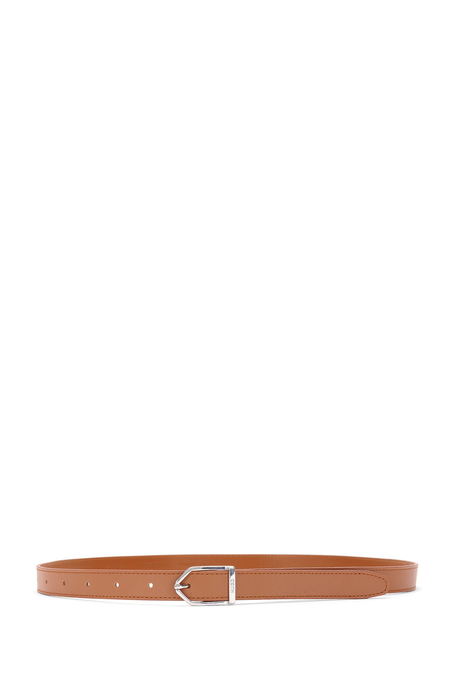 Slim leather belt with modern buckle