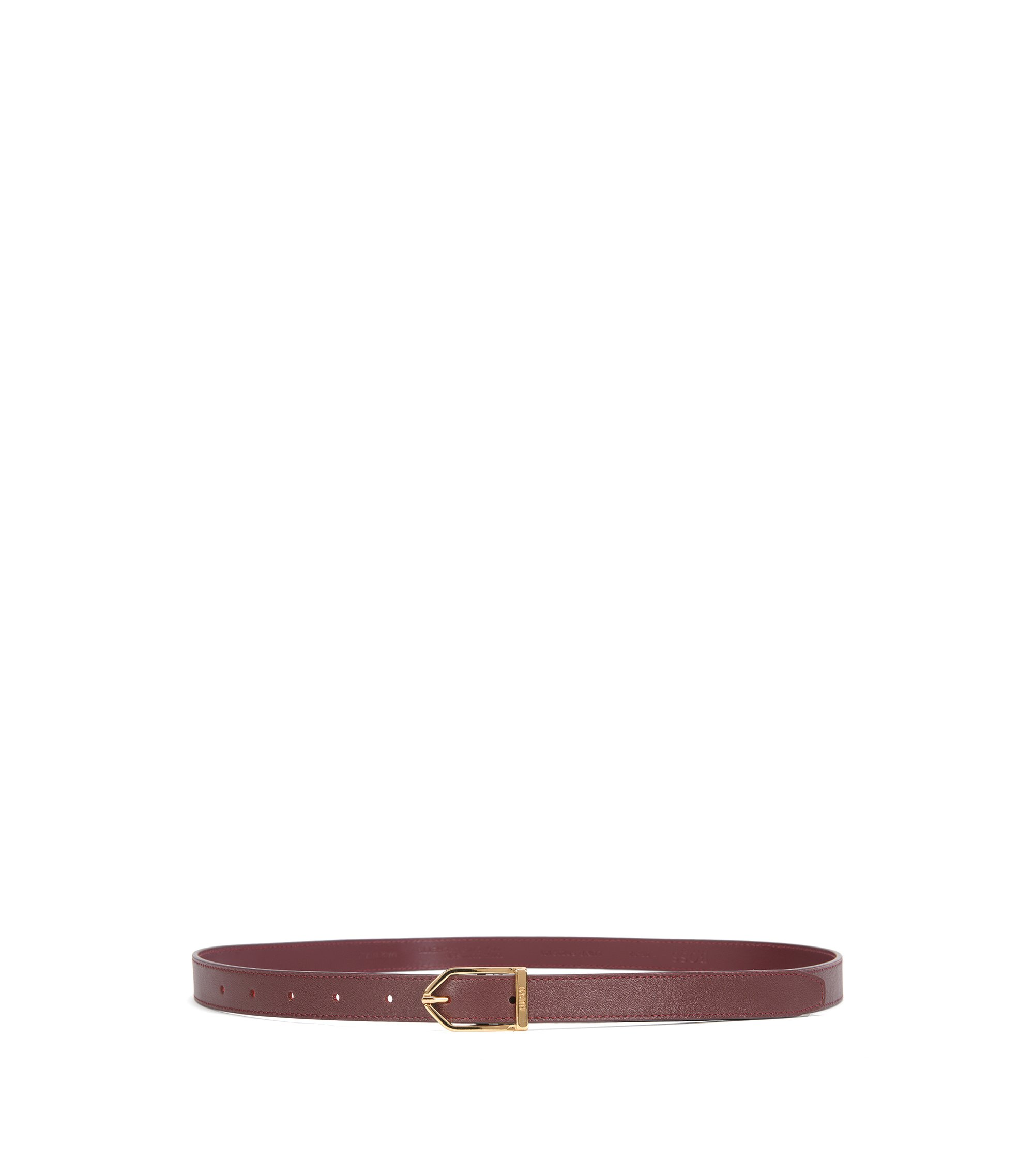 Slim leather belt with modern buckle, Dark Red