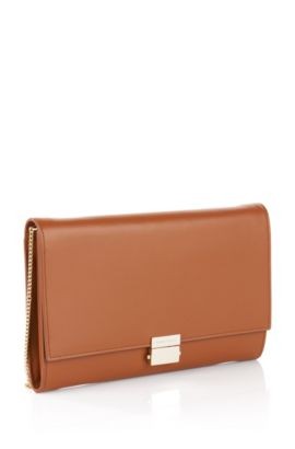 Leather clutch bag: 'Munich Mini', Brown
