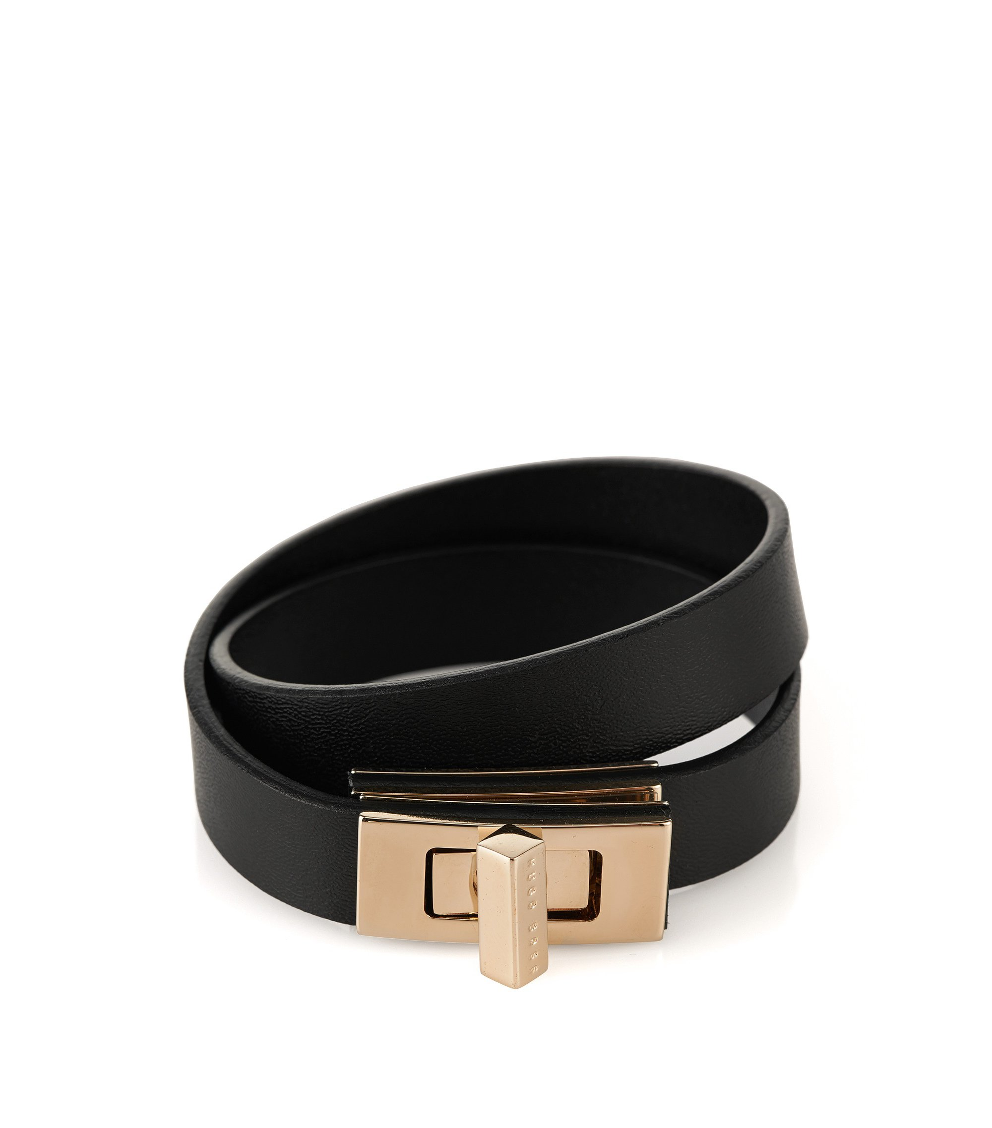 Plain BOSS Bespoke bracelet in leather, Black