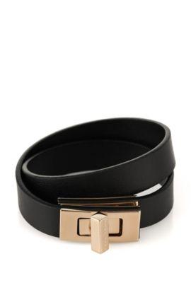 Effen BOSS Bespoke-armband van leer, Zwart