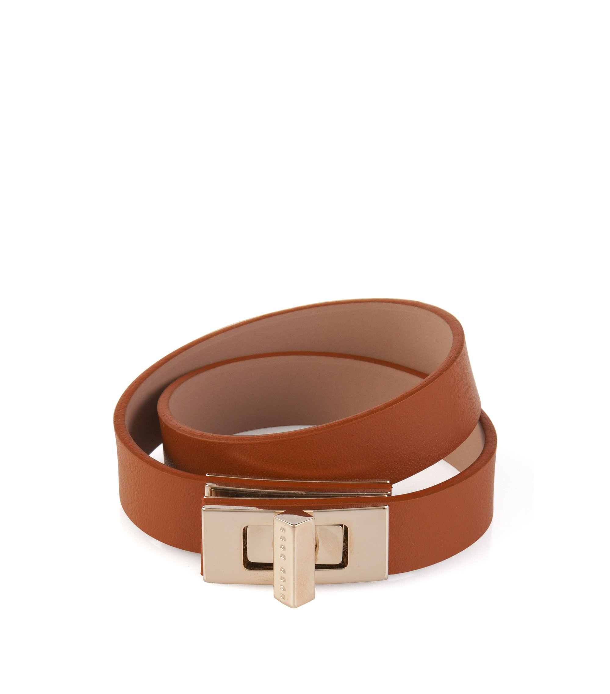 Plain BOSS Bespoke bracelet in leather, Brown