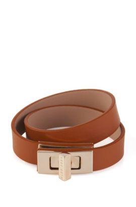 Effen BOSS Bespoke-armband van leer, Bruin