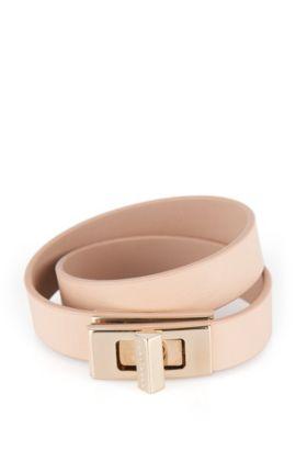 Plain BOSS Bespoke bracelet in leather, Light Beige