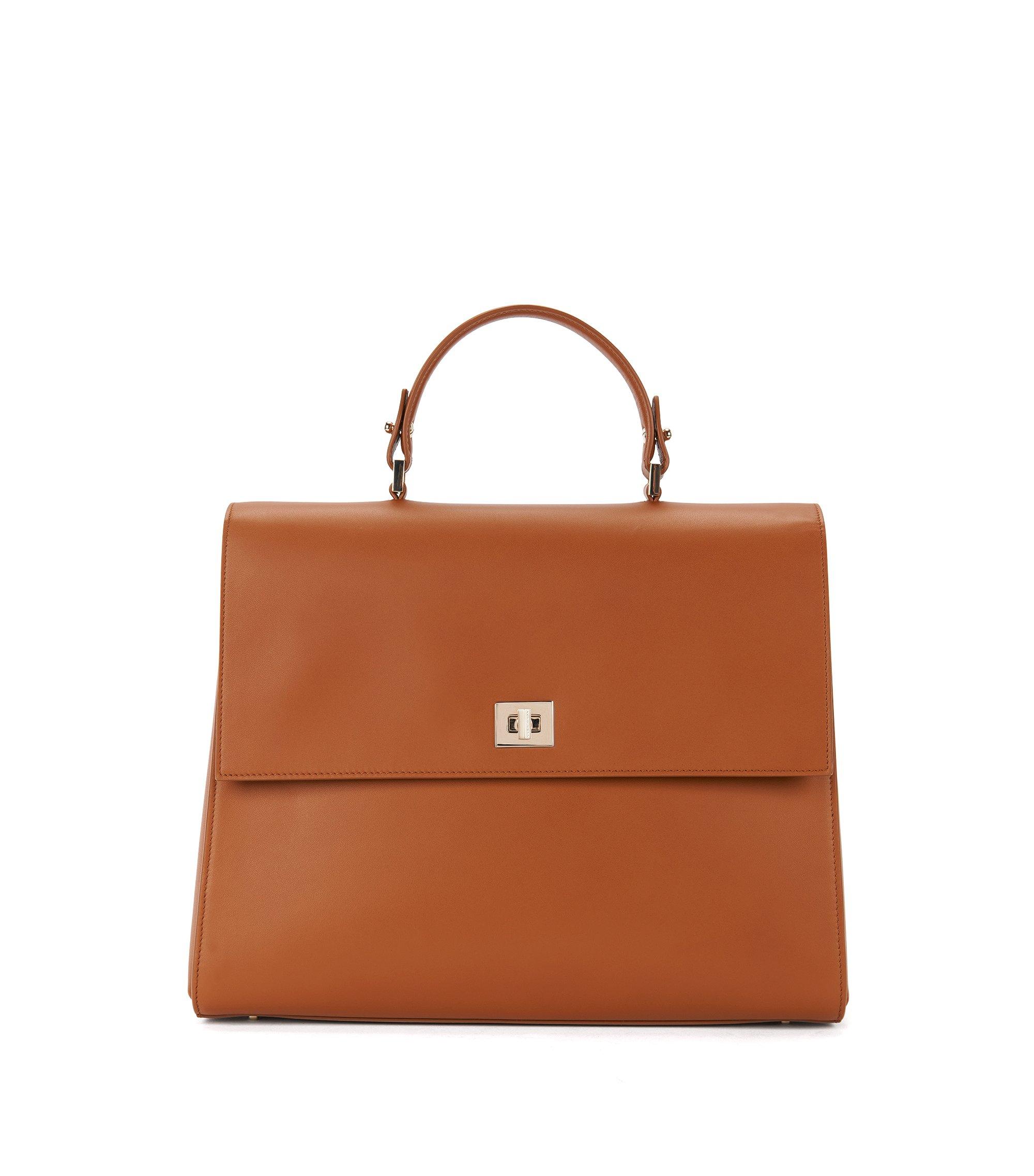 BOSS Bespoke Handtasche aus glattem Leder, Braun