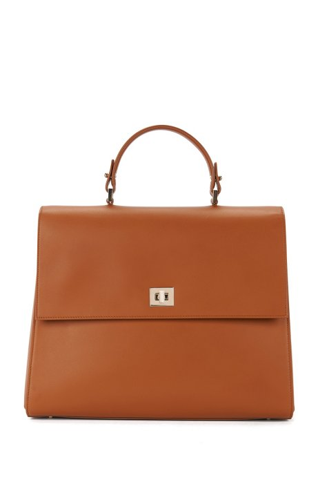 BOSS Bespoke handbag in smooth leather, Brown