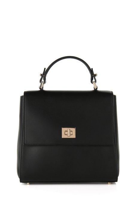 Small BOSS Bespoke handbag in leather, Black