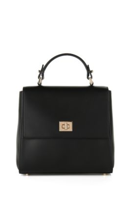 Small BOSS Bespoke handbag in leather, Black