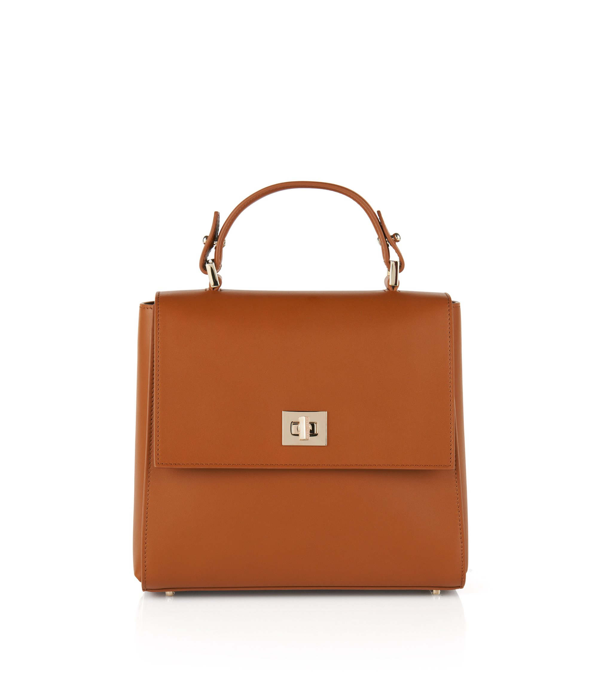 Small BOSS Bespoke handbag in leather, Brown