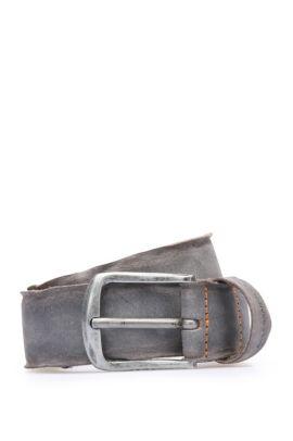 Belt in washed leather: 'Biboly', Grey