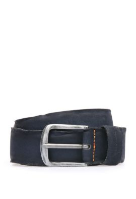Belt in washed leather: 'Biboly', Dark Blue