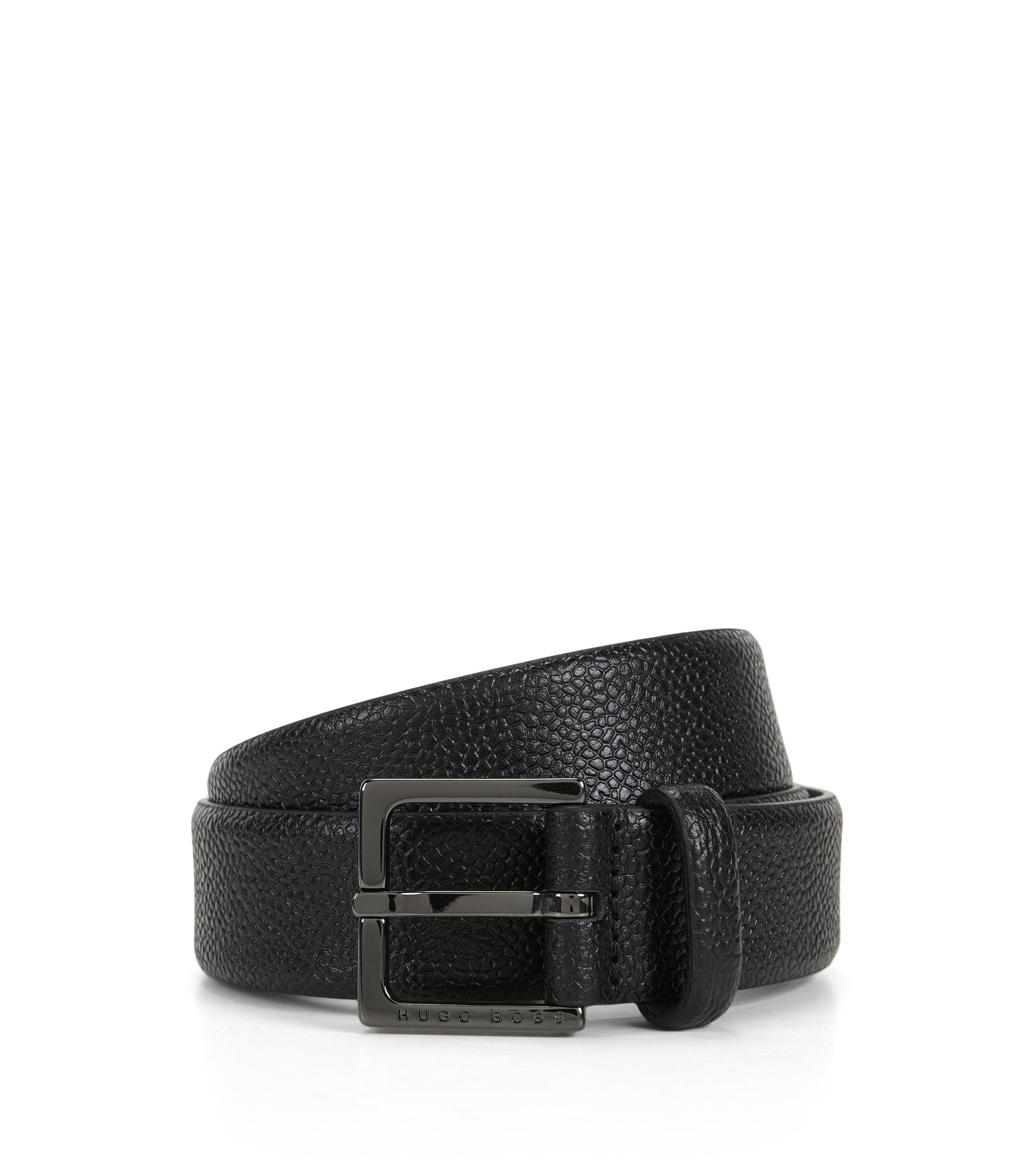 Chino-Gürtel aus geprägtem Leder, Schwarz