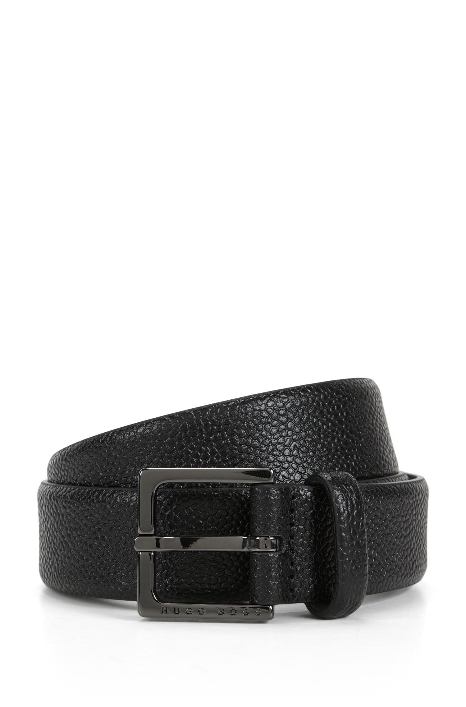 Chino belt in grain-embossed leather