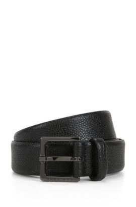 Chino belt in grain-embossed leather, Black
