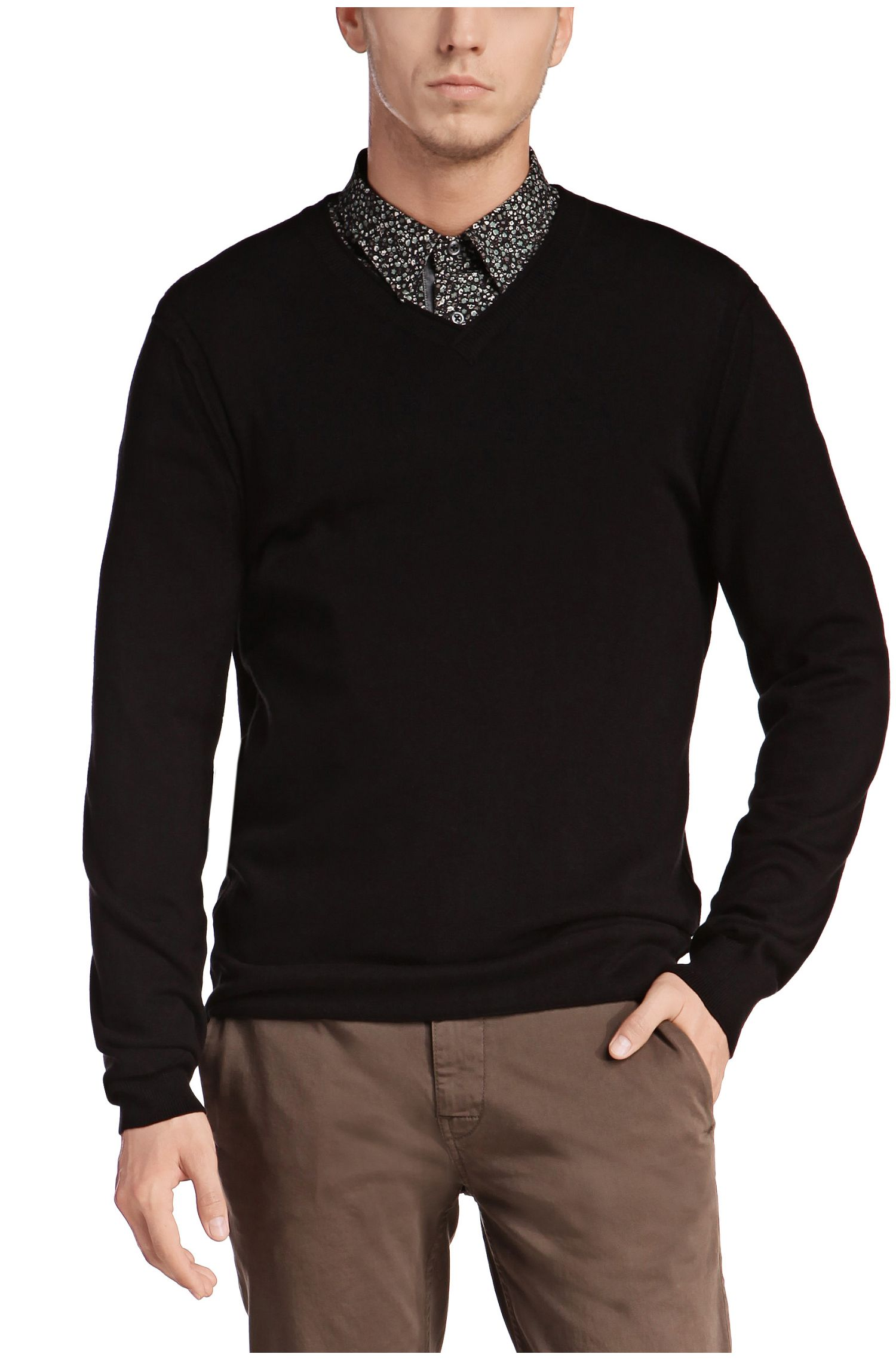 Slim-fit sweater in cotton blend with new wool: 'Albino'