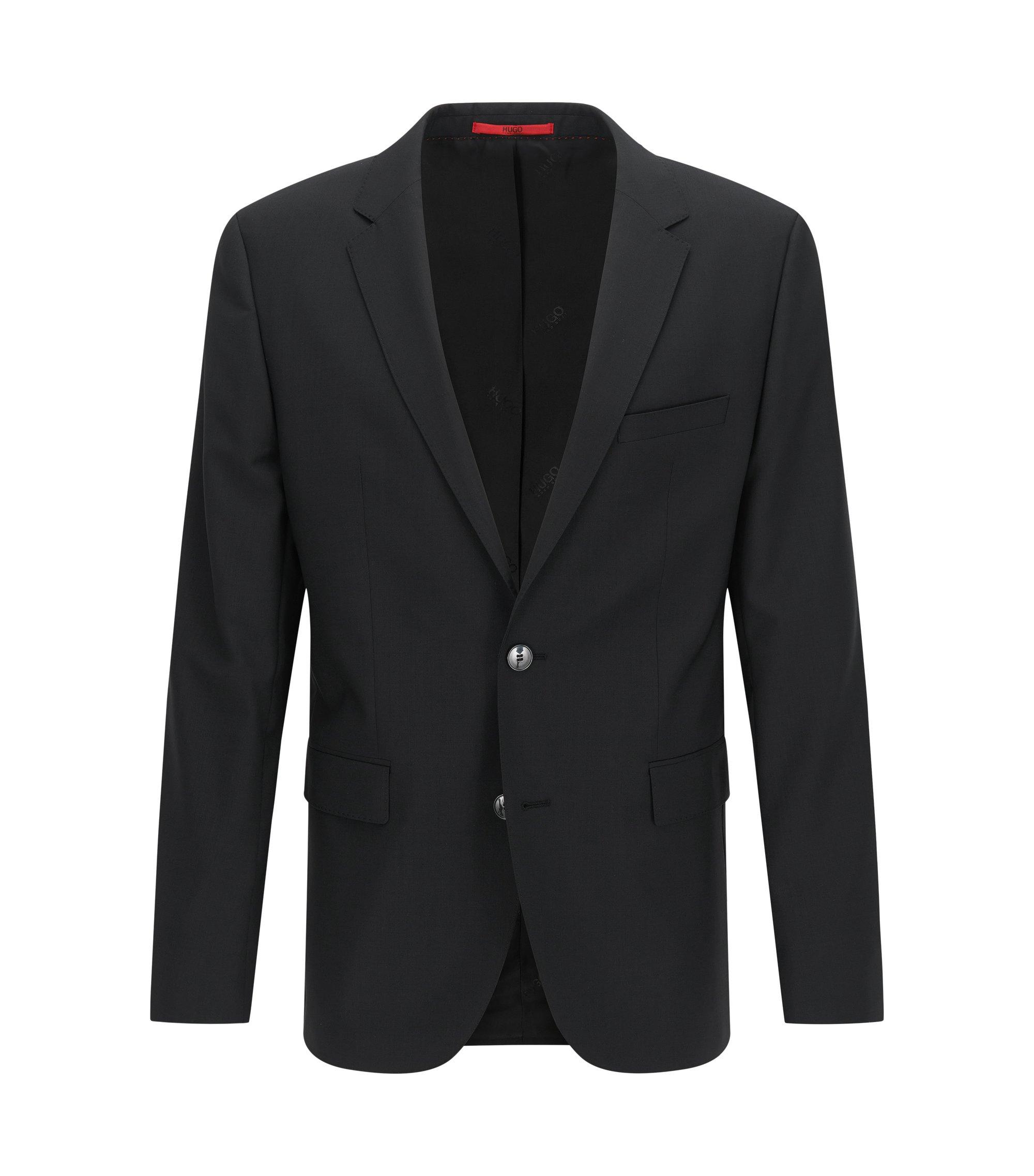 Regular-fit suit jacket in virgin wool , Black