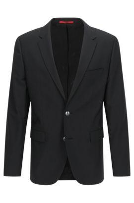 Giacca regular fit in lana vergine , Nero