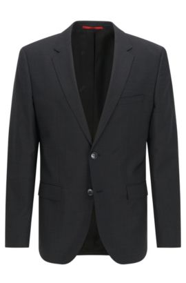 Regular-fit suit jacket in virgin wool , Dark Grey