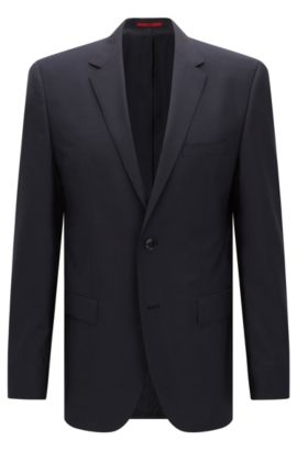 Regular-fit suit jacket in virgin wool , Dark Blue