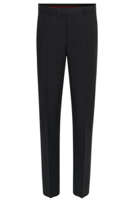 Pantalon Regular Fit en laine vierge, Noir