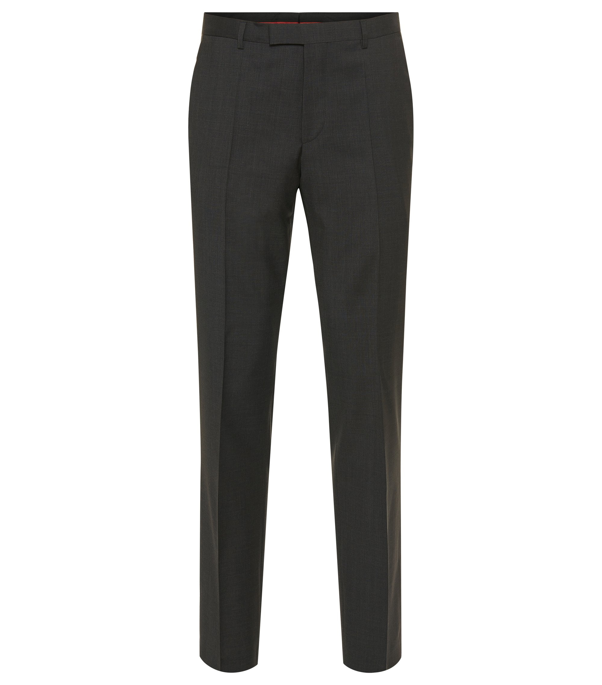 Pantalon Regular Fit en laine vierge, Gris sombre