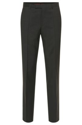 Pantalones regular fit en lana virgen , Gris oscuro