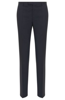 Pantaloni regular fit in lana vergine, Blu scuro