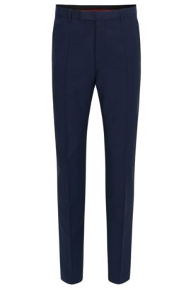 Pantaloni regular fit in lana vergine, Blu