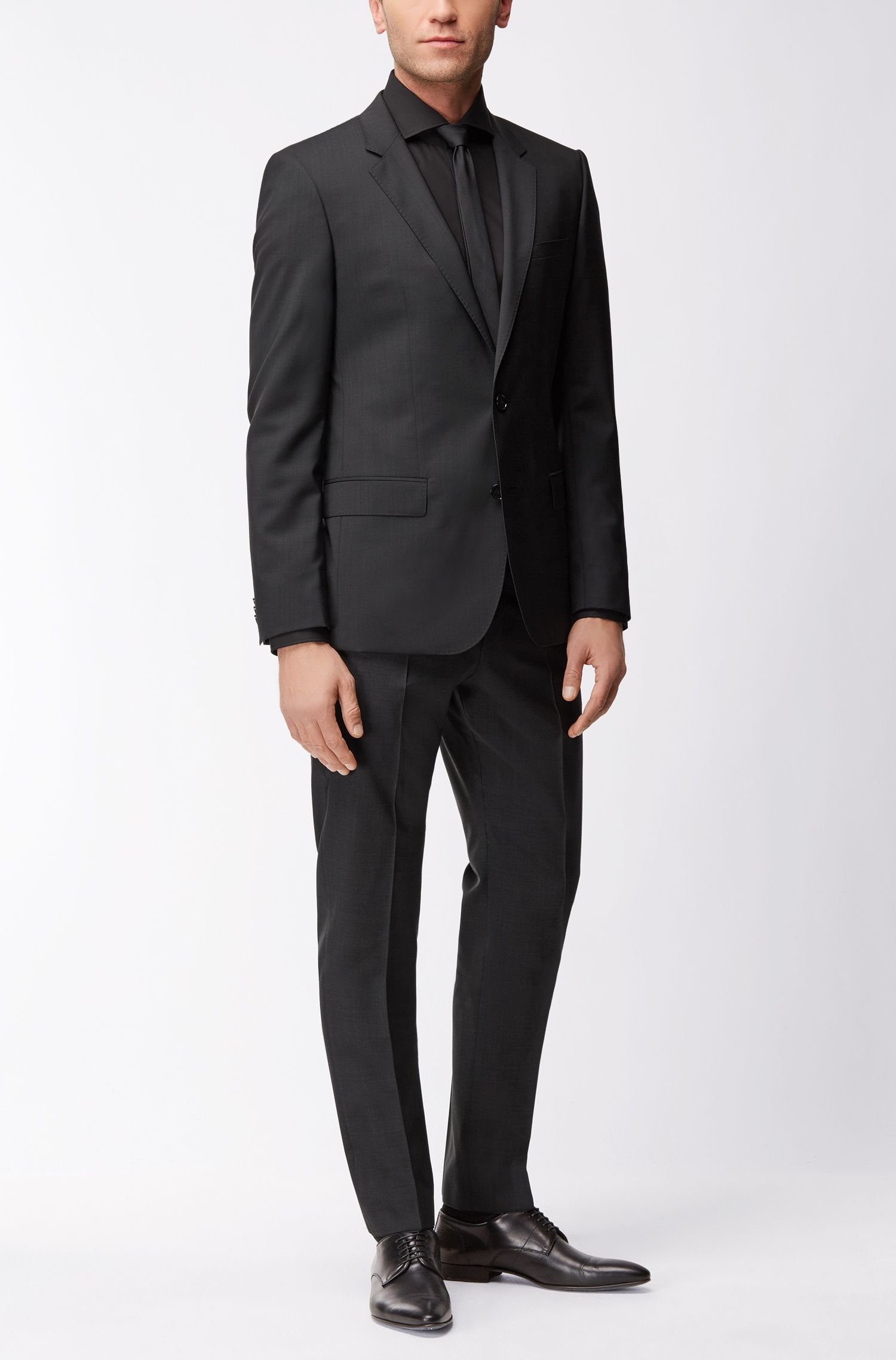 Slim-fit kostuumcolbert van scheerwol, Zwart