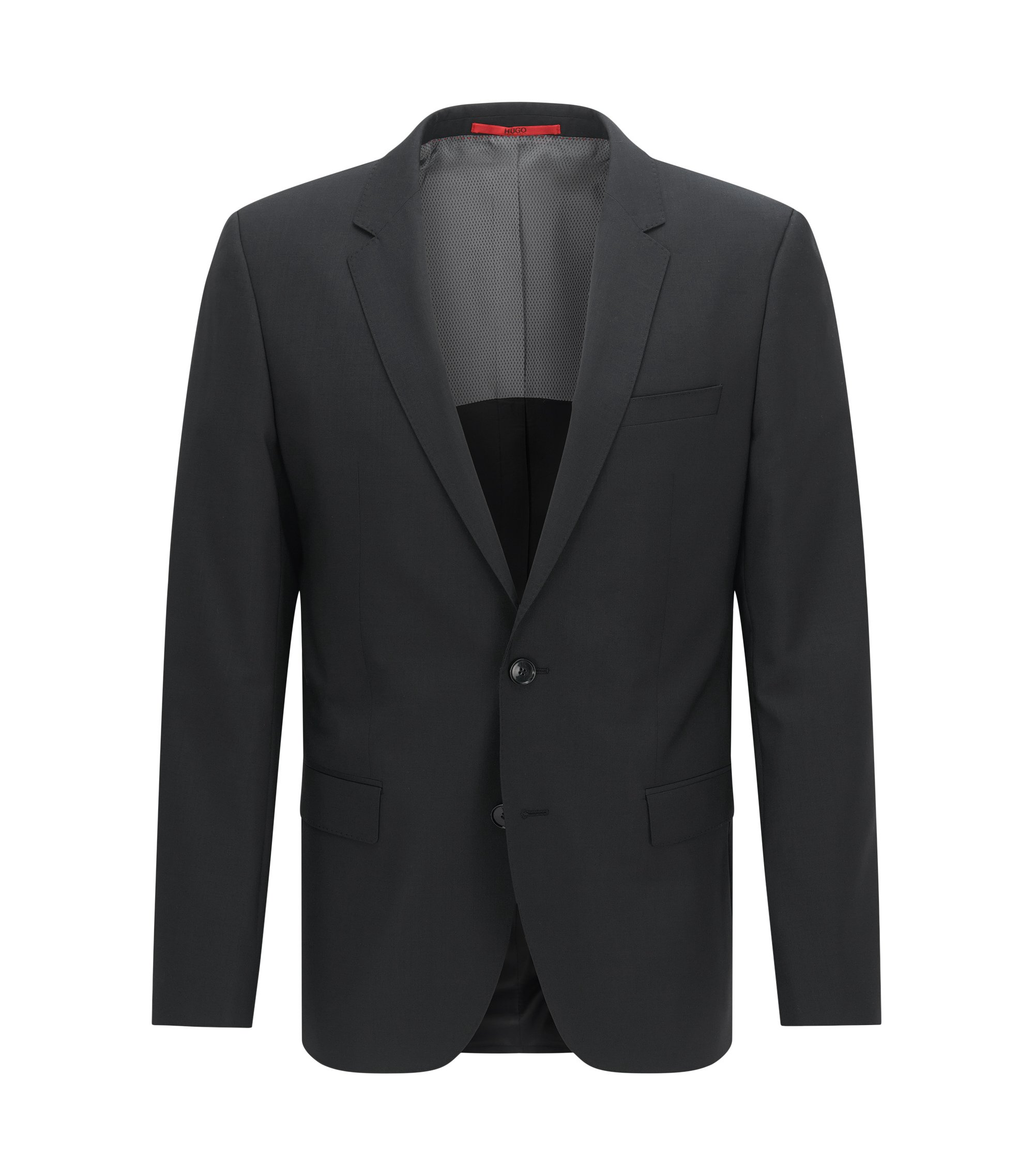Slim-fit suit jacket in virgin wool , Black