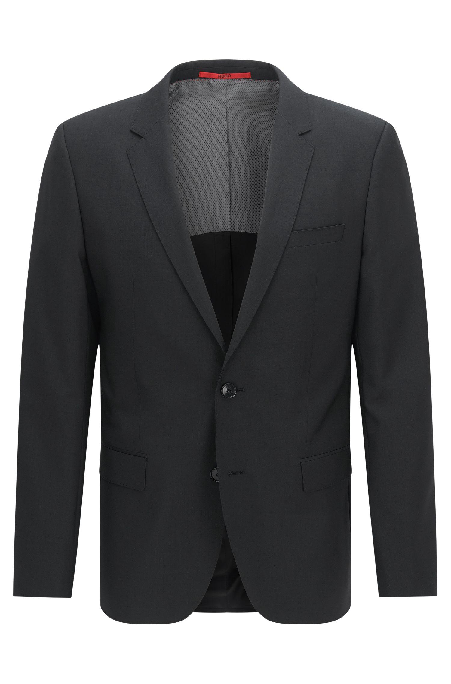 Veste de costume HUGO Homme Slim Fit en laine vierge, Noir