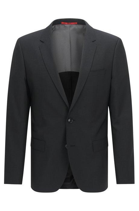 Slim-fit suit jacket in virgin wool , Black