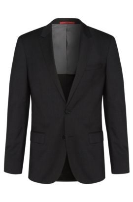 Slim-fit suit jacket in virgin wool , Dark Grey