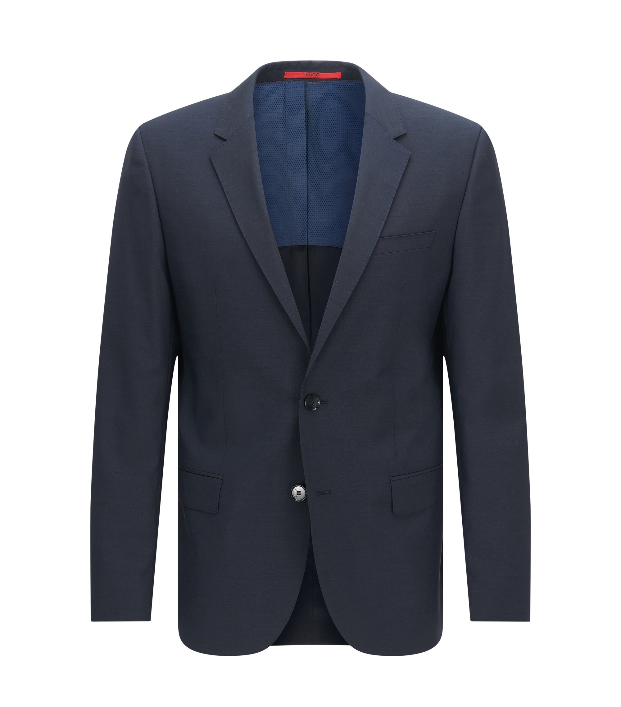 Slim-fit suit jacket in virgin wool , Dark Blue
