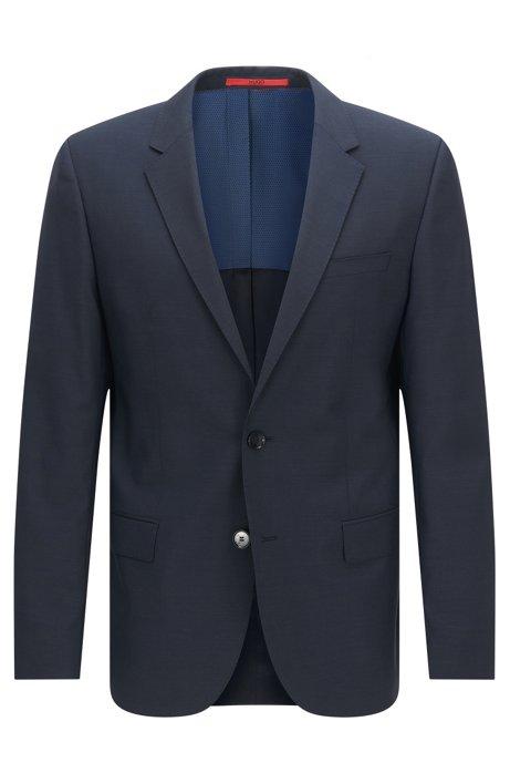 Slim-fit suit jacket in virgin wool , Dark Blue