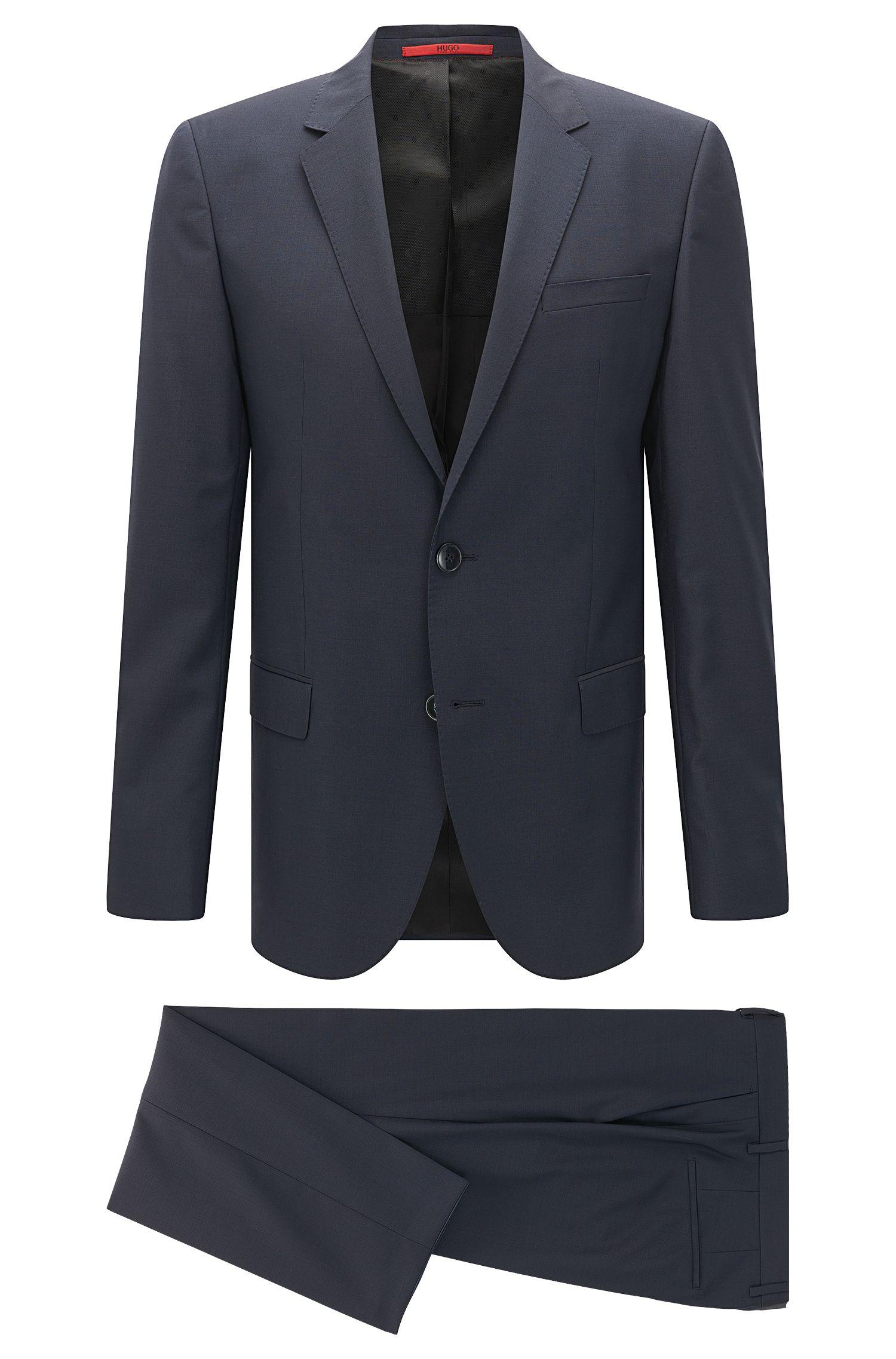 Unifarbener Slim-Fit Anzug aus Schurwolle: 'C-Huge1/C-Genius'