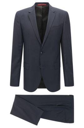 Unifarbener Slim-Fit Anzug aus Schurwolle: 'C-Huge1/C-Genius', Dunkelblau