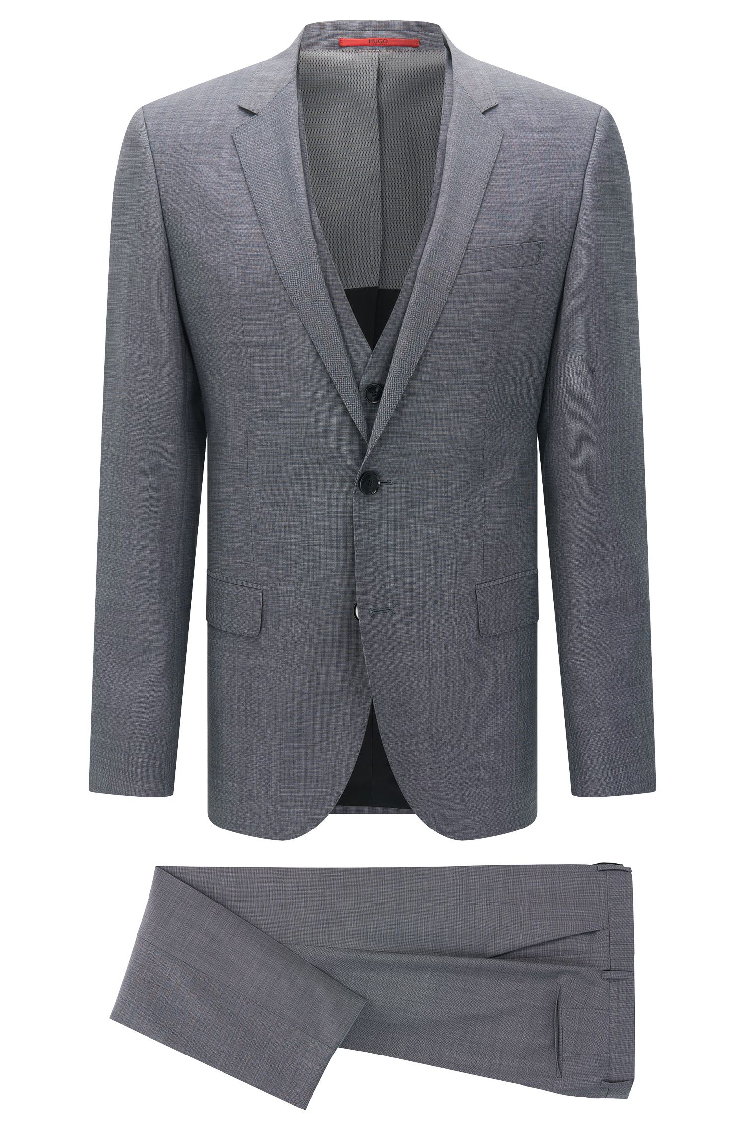 Slim-fit suit with waistcoat in new wool: 'C-Huge1/C-Genius/C-WE'