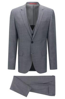Slim-fit kostuum van scheerwol met gilet: 'C-Huge1/C-Genius/C-WE', Lichtgrijs