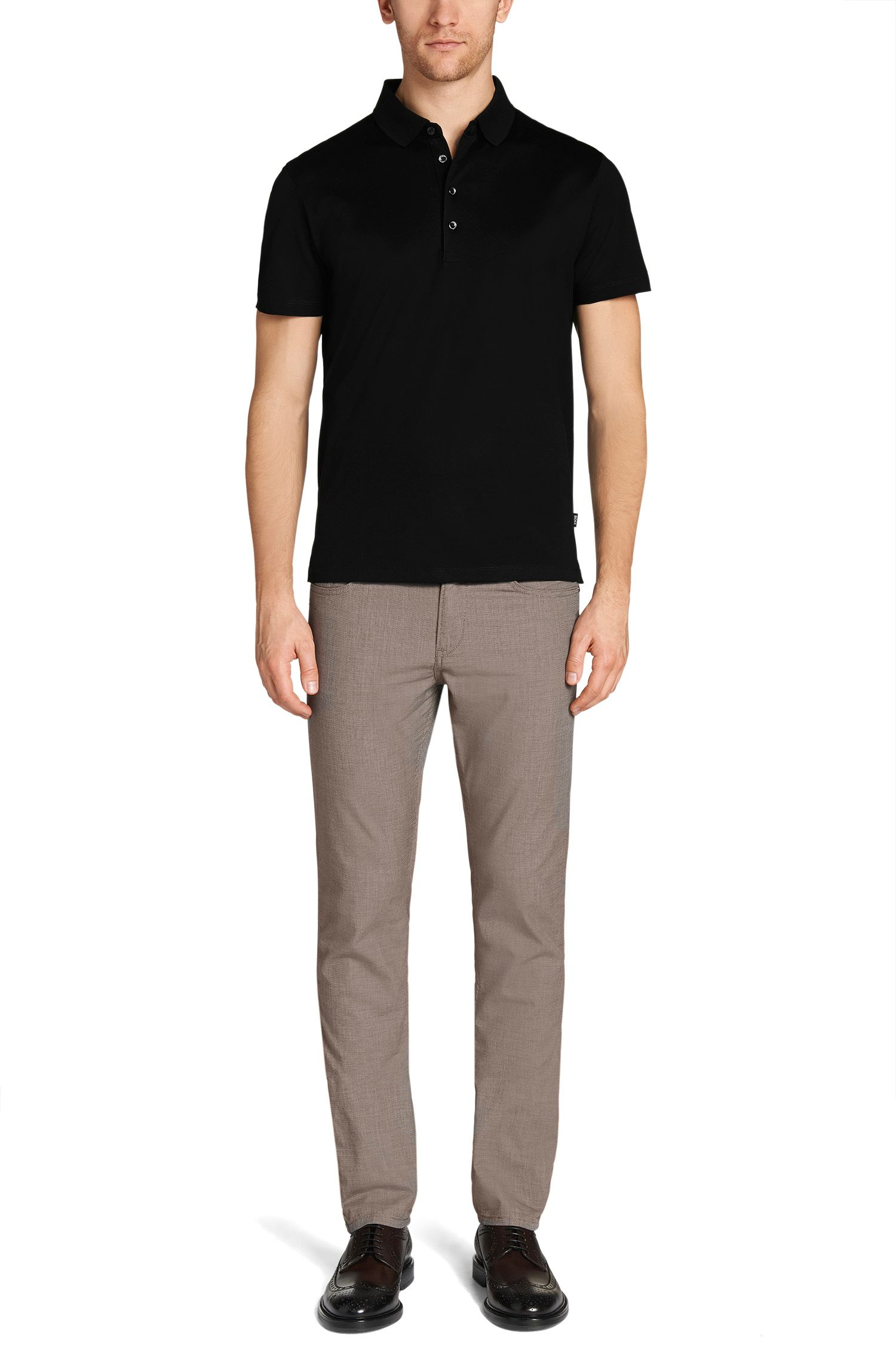 Polo regular fit in cotone mercerizzato, Nero