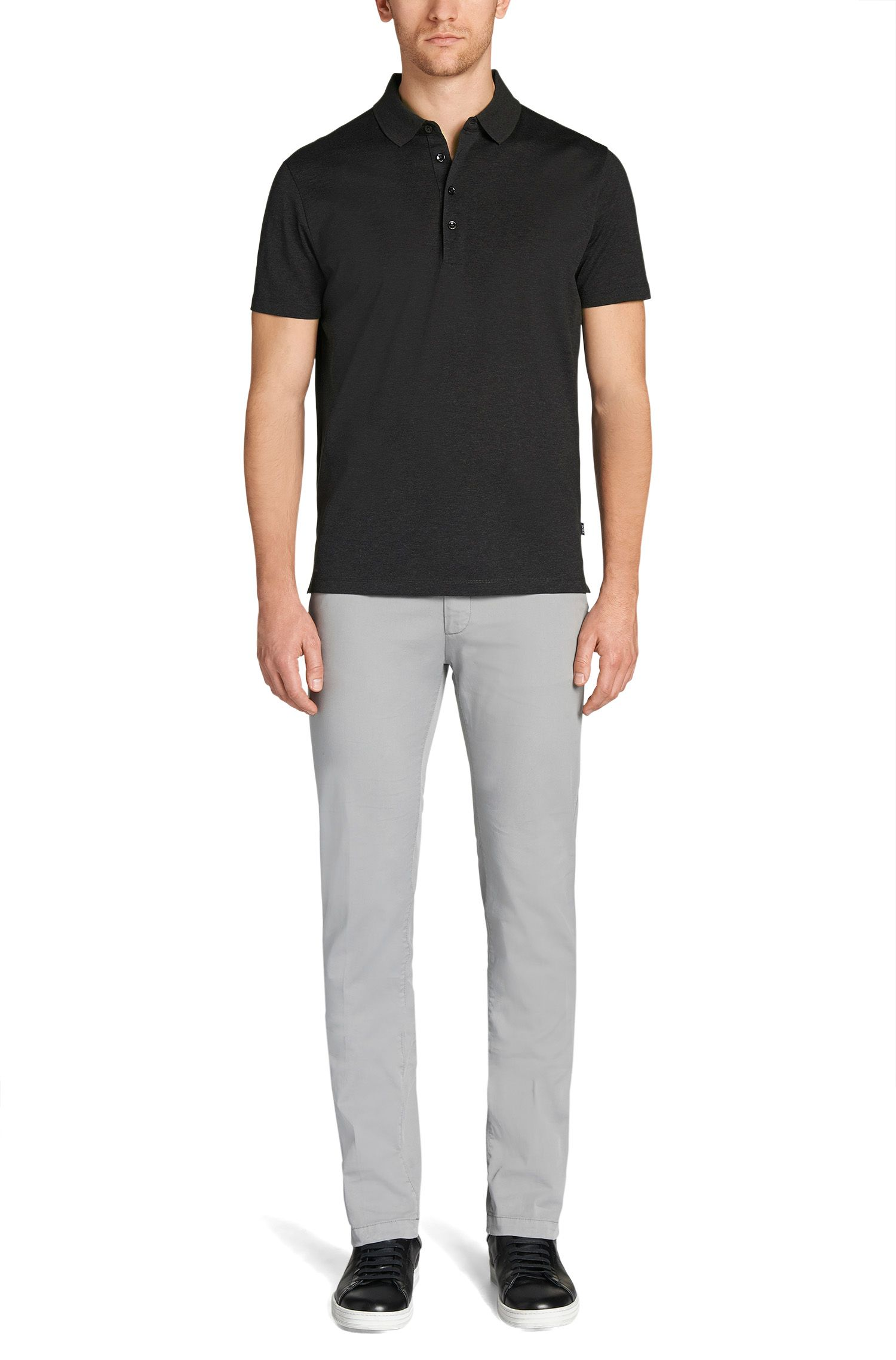 Polo Regular Fit en coton mercerisé, Anthracite