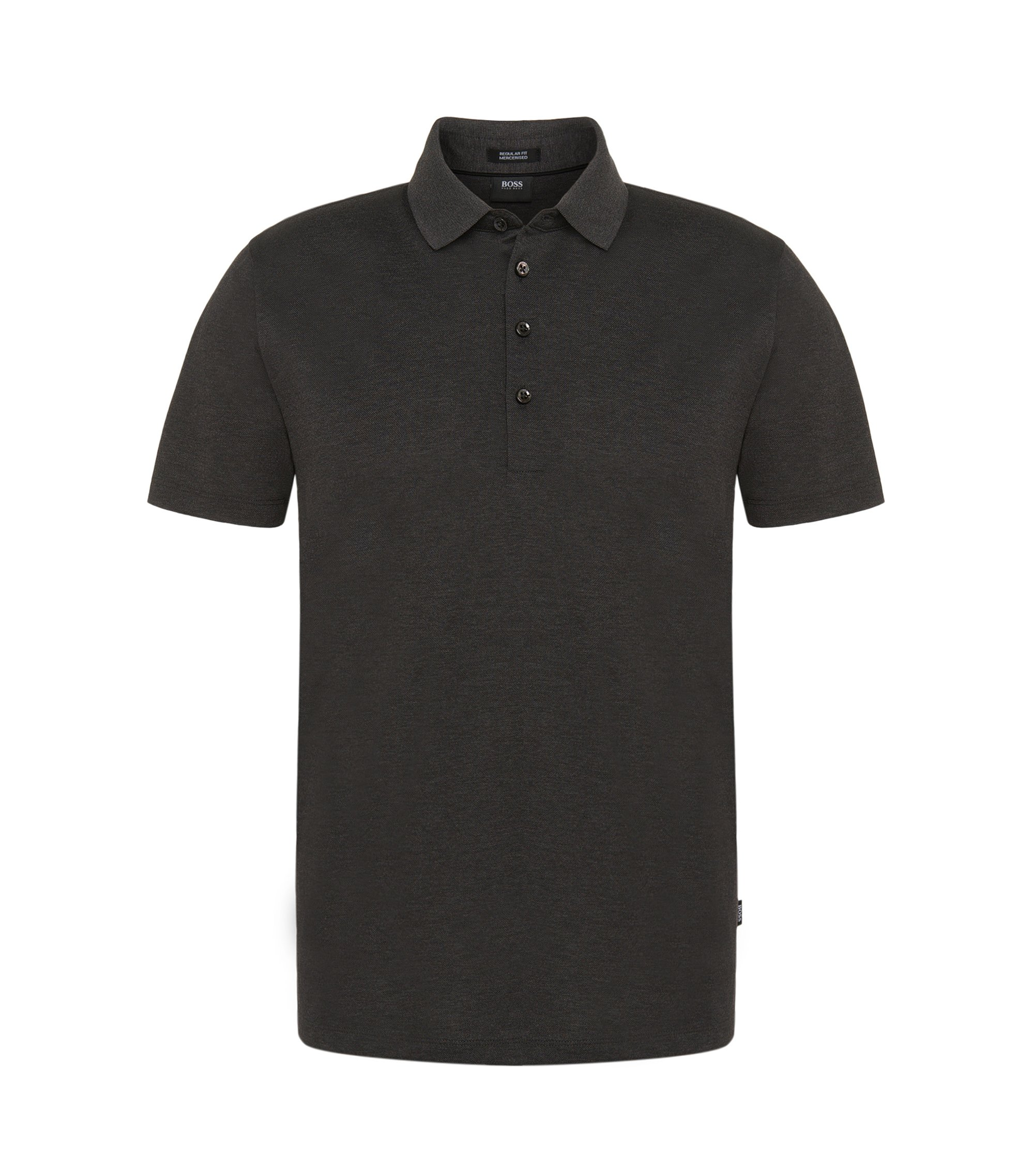 Regular-fit polo shirt in mercerised cotton, Anthracite