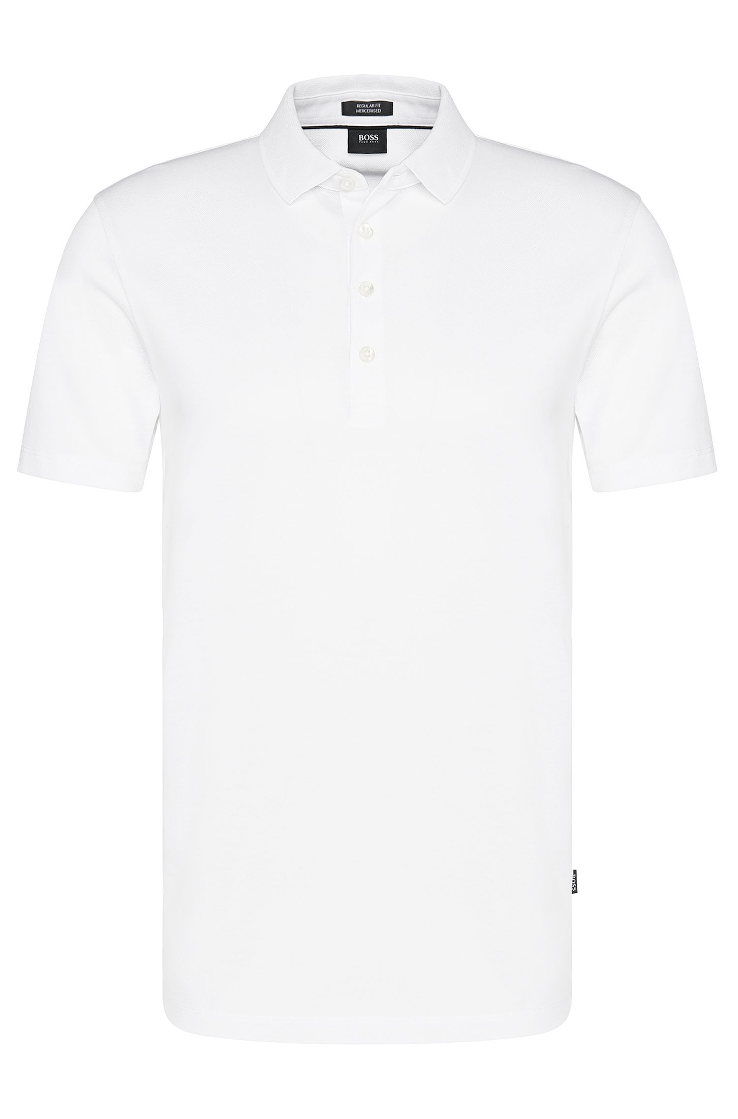 Regular-fit polo shirt in mercerised cotton, White