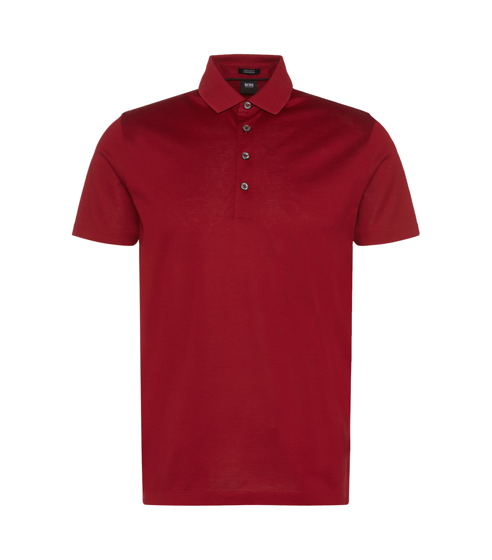 Regular-fit polo shirt in mercerised cotton, Red