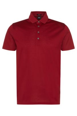 Polo Regular Fit en coton mercerisé, Rouge