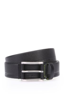 Distinctively textured leather belt with embossed logos: 'Tymos', Black