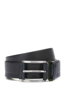 Cintura in pelle dalla lavorazione vistosa con logo stampato: 'Tymos', Grigio