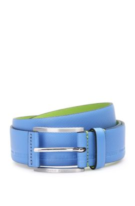 Distinctively textured leather belt with embossed logos: 'Tymos', Blue